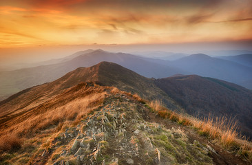 Beautiful autumn sunset in Bieszczady mountains - Poland