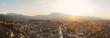 canvas print picture - Panoramablick auf Stadt Prizren, Kosovo im wunderschönen Sonnenuntergangslicht