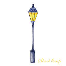 Christmas Street Lamp. Watercolor Illustration Isolated On A White Background. Anntique Metal Bright Light Lamp
