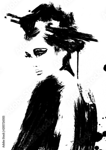Obraz na plátne Abstract Geisha woman painting black and white