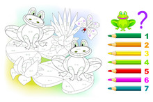 Math Education For Children. Coloring Book. Mathematical Exercises On Addition And Subtraction. Solve Examples And Paint Frogs. Developing Skills For Counting. Printable Worksheet For Kids Textbook.
