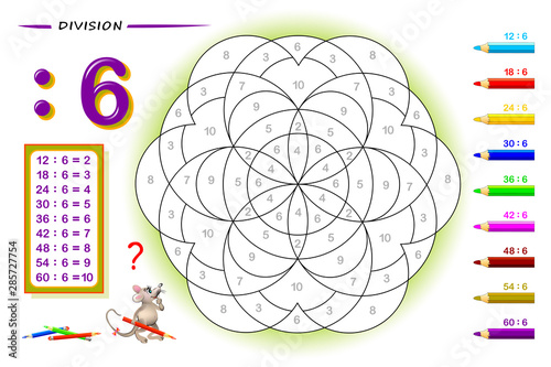 Division by number 8. Math exercises for kids. Paint the picture. Educational page for mathematics book. Printable worksheet for children textbook. Back to school. IQ training test. Vector image.