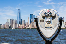 Coin Operated Binocular In Ellis Island With Freedom Tower In Background