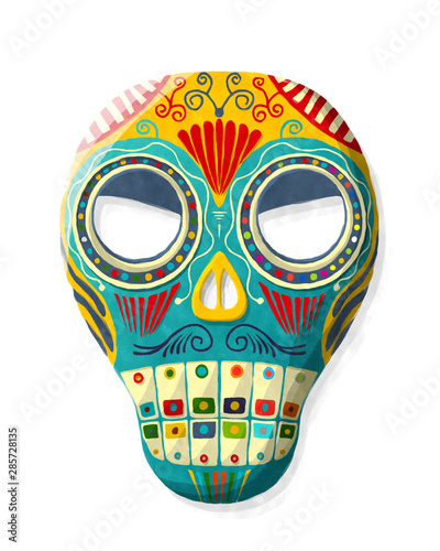 Printed kitchen splashbacks Watercolor skull Watercolor Mexican sugar skull
