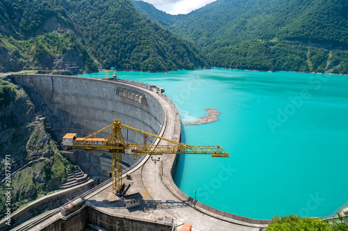 Wide view of The Enguri hydroelectric power station HES. Canvas Print