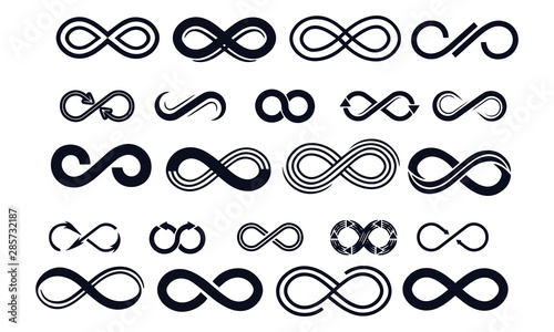 Fotografia black infinity symbols vector design black and white icon