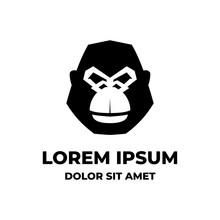 Simple Black Portrait Gorilla Ape Face Logo Design