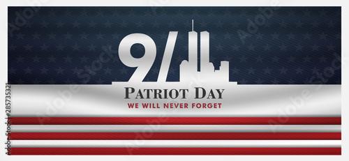 Obraz patriot day background, September 11, we will never forget, united states flag posters, modern design vector illustration - fototapety do salonu