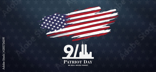Fotografia  patriot day background, September 11, we will never forget, united states flag p