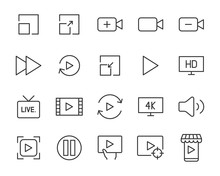 Set Of Video Icons, Play, Live, Channel, Watch