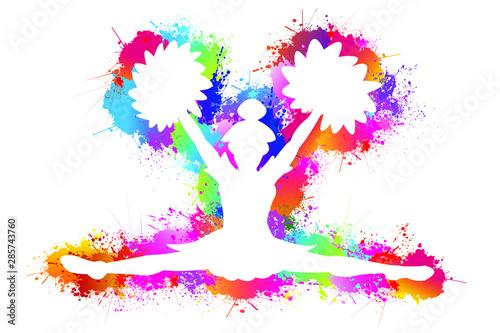 Fotografía Popular sports, Cheerleader logo design, Dancing colorful girl splash paint on white background, Icon, Symbol, Silhouette, Vector illustration