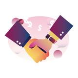 handshake icon flat design image - 285745761
