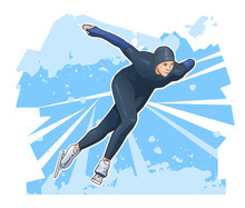 Vector Illustration Of Speed Skater Skating On Ice. Ice Speed Skating Winter Poster On Abstract Background