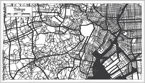 Photo Tokyo Japan City Map in Retro Style. Outline Map.