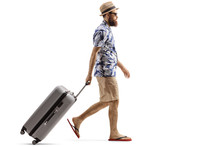 Bearded Man With A Suitcase Wa...