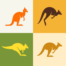 Set Of Kangaroo Logo. Icon Design. Template Elements