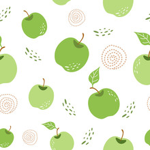 Green Apple Pattern Seamless R...