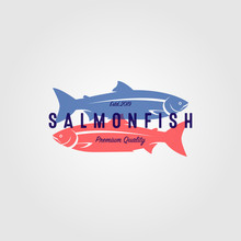 Vintage Salmon Fish Logo Seafood Label Badge Vector Design Illustration
