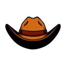 Illustration Of Cowboy Hat Isolated On White Background. Design Element For Poster, Card, Banner, Sign, Emblem, Label.