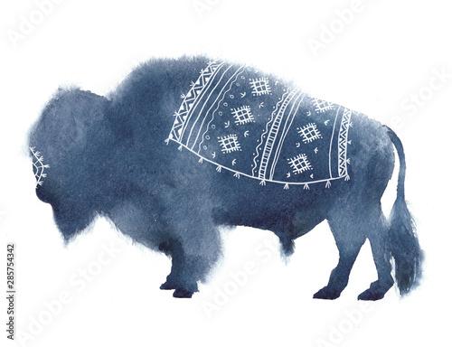 Fényképezés  Watercolor realistic bison silhouette on white background