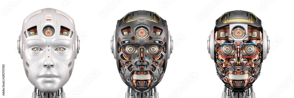 Fototapeta robot head or set of three different cyborg faces. Isolated on white background. 3d render