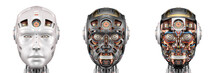 Robot Head Or Set Of Three Dif...