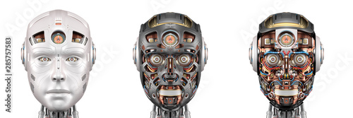 Photo robot head or set of three different cyborg faces