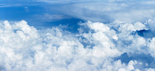 Panoramic View Of The Massif Of The Cumulus Clouds At The Height Of 10000 Meters Signal About A Possible Rain.