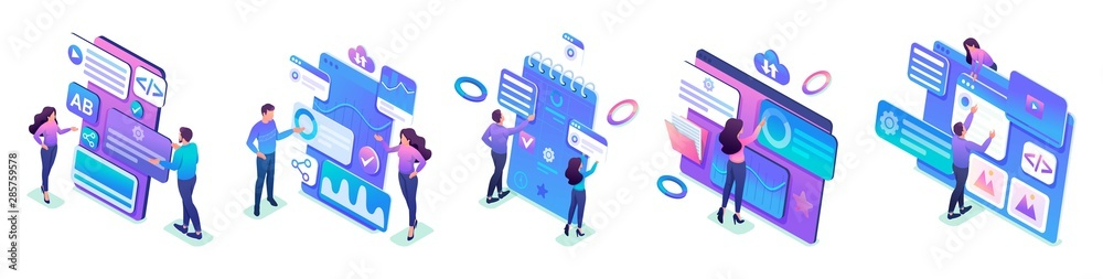 Fototapeta Isometric sets of concepts of young people's work on smartphone screens. Bright design for advertising concepts and web design development