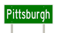 Rendering Of A Green Highway Sign For Pittsburgh Pennsylvania