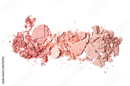 Obraz Various crushed blush over the white background. Make up artist, beauty salon, beauty blog - fototapety do salonu