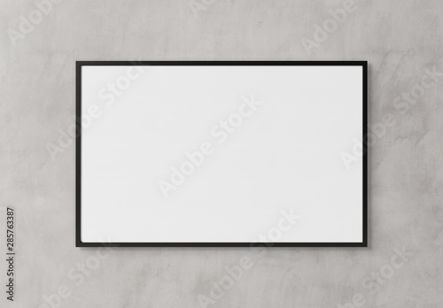 Valokuvatapetti Black rectangular horizontal frame hanging on a white wall mockup 3D rendering
