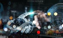 Robot Hand And Human Hand Touc...