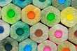 canvas print picture - close up stack of colored pencils background.
