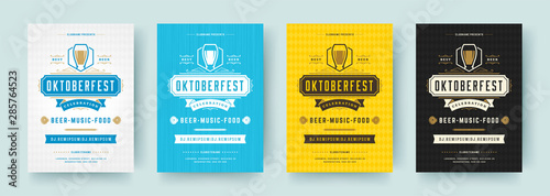 Oktoberfest flyers or posters retro typography emplates invitations beer festiva Wallpaper Mural