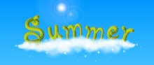 Summer Word 3D Font On Cloud