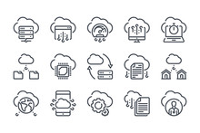 Cloud Technology Related Line Icon Set. Cloud Data And Server Linear Icons. Database And Web Storage Outline Vector Signs And Symbols Collection.