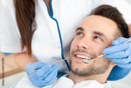 Stampa su Tela Man having teeth examined at dentists