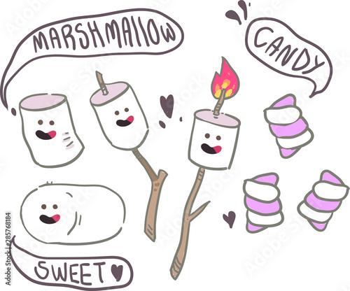 cartoon style marshmallow doodle  . Marshmallow vector illustration - 285768184