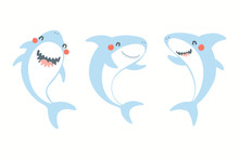 Collection Of Cute Funny Sharks. Isolated Objects On White Background. Hand Drawn Vector Illustration. Flat Style Design. Color Drawing. Concept For Summer Children Print.