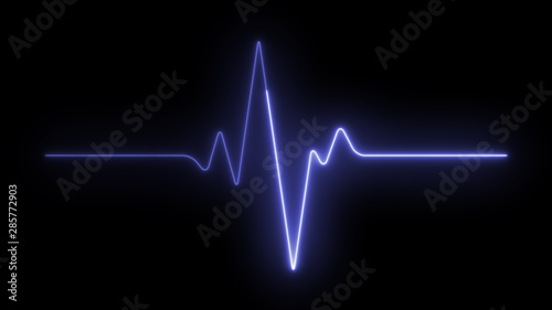 Foto  Ekg neon pulse monitor with signal. Heart beat.