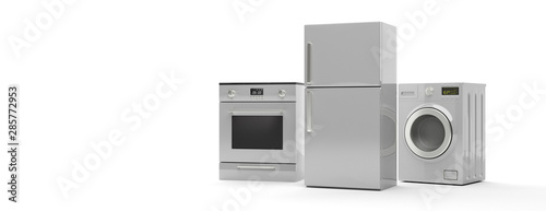 Photo White home appliances set isolated on white background