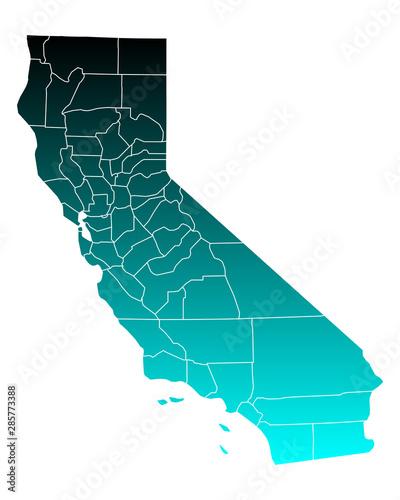 Karte von California Tapéta, Fotótapéta