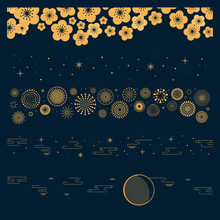 Collection Of Gold Decorative Horizontal Borders In Oriental Style With Moon, Stars, Clouds, Flowers, Fireworks, For Chinese New Year, Mid Autumn Festival. Isolated Objects. Vector Illustration.