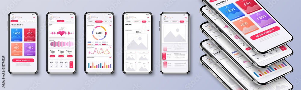 Fototapeta Different UI, UX, GUI screens fitness app and flat web icons for mobile apps, responsive website including. Web design and mobile template. Fitness interface design for mobile application. Vector