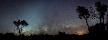 Silhouette Of Australian Outback Panorama In Front Of Milky Way And Zodiacal Light