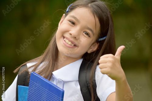 Obraz Happy Catholic Minority Girl Student With Books - fototapety do salonu