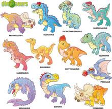Cartoon Cute Prehistoric Dinos...
