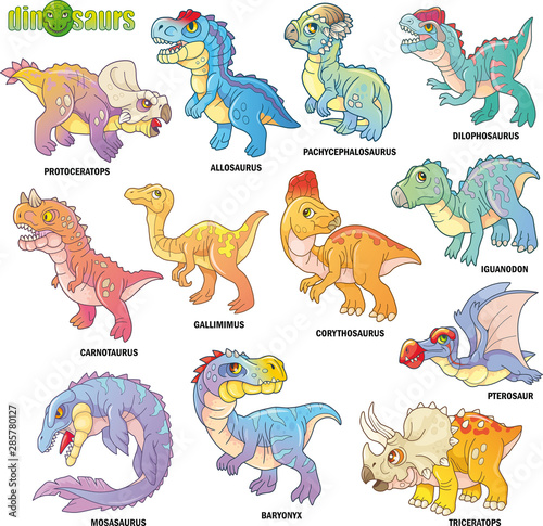 cartoon cute prehistoric dinosaurs, set of images, funny illustrations фототапет