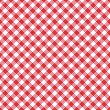 Vector Seamless Classic Red Table Cloth Texture With Diagonal Lines